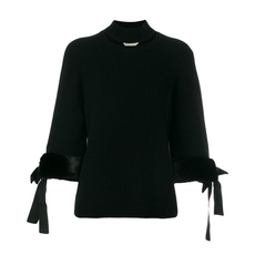 FENDI cut-detail turtle-neck sweater Black