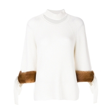 FENDI cut-detail turtle-neck sweater White