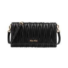 Miu Miu Matelassé Leather Mini Bag Black