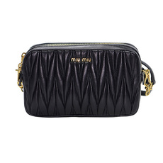 Miu Miu Matelassé Leather Mini Crossbody Bag Black