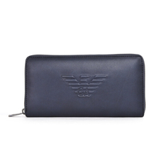 Emporio Armani Logo Embossed Zip Around Wallet Blue