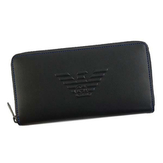 Emporio Armani Logo Embossed Zip Around Wallet Black