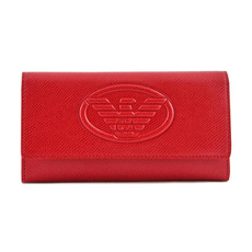 Emporio Armani Logo Embossed Long Wallet Red