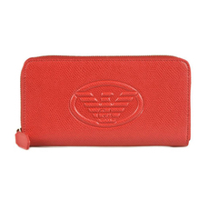 Emporio Armani Logo Embossed Zip Around Continental Wallet Red