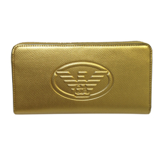 Emporio Armani Logo Embossed Zip Around Continental Wallet Gold