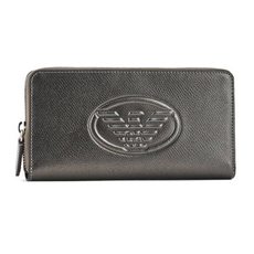 Emporio Armani Logo Embossed Zip Around Continental Wallet Silver