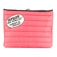 Moncler Speech Bubble Quilted Clutch Bag Pink