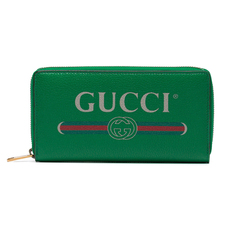 Gucci Green Logo Leather Zip Around Wallet Green