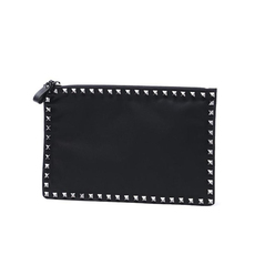 Valentino Garavani Men's Black Nylon Rivet Clutch