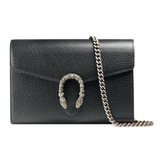 Gucci 'Tiger Head' Dionysus Leather Chain Wallet Black