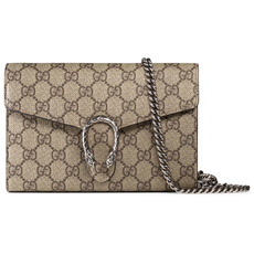 Gucci Dionysus Gg Supreme Chain Wallet Brown
