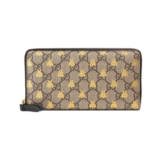 Gucci Gg Supreme Gold Printed Bees Zip Around Wallet