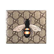 Gucci Bee Print Gg Supreme Wallet Brown