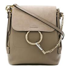 Chloe Small Faye Suede & Calfskin Backpack Motty Grey