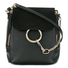 Chloe Small Faye In Smooth Calfskin & Suede Calfskin With Removable Straps Backpack Black
