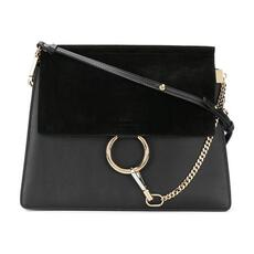 Chloe Faye In Smooth Calfskin & Suede Calfskin Shoulder Bag Black