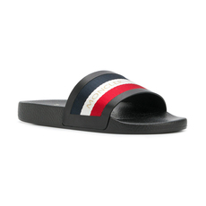 Moncler Tri Stripe Slides Black
