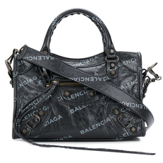 Balenciaga Logo Print City Mini Crossbody Bag Black