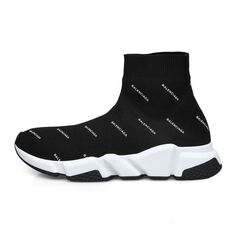 Balenciaga Speed Trainers(10 Mm Arch) With Two-Tone Sole And All-Over Balenciaga Logo Black/White