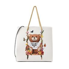 Moschino Teddy Floral Swing Shopper/Shoulder Bag White