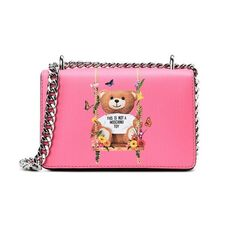 Moschino Teddy Floral Swing Crossbody Bag Pink