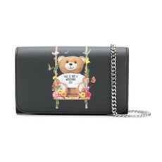 Moschino Teddy Floral Swing Chain Wallet Black