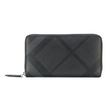 Burberry London Check Zip Around Wallet Charcoal Black