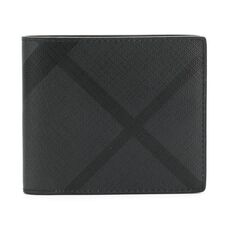 Burberry London Check International Coin Bi-Fold Wallet Charcoal Black