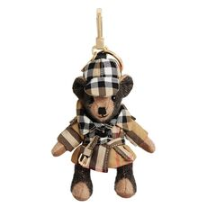 Burberry Vintage Check Trench Coat Thomas Bear Bag Charm Camel