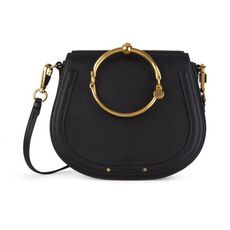 Chloe Medium Nile Bracelet In Smooth & Suede Calfskin Crossbody Bag Black