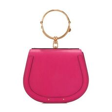 Chloe Medium Nile Bracelet In Smooth & Suede Calfskin Crossbody Bag Fuchsia Rose