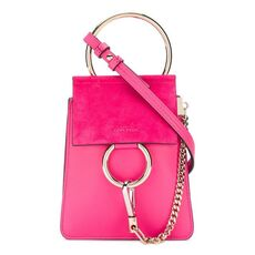 Chloé Faye Small Bracelet Bag In Smooth & Suede Calfskin Fuchsia Rose