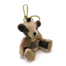 Burberry Thomas Bear Charm In Check Cashmere Camel