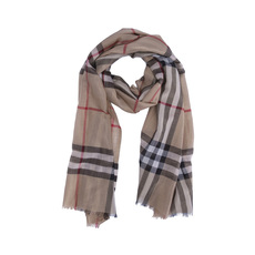 Burberry Metallic Check Silk And Wool Scarf Camel/Gold