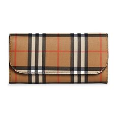 Burberry Vintage Check And Leather Continental Wallet Brown/Black