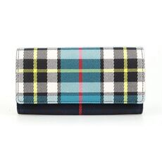 Burberry Vintage Check And Leather Continental Wallet Dark Blue