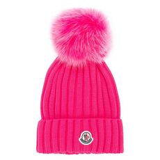 Moncler Bobble Top Beanie Hat Pink