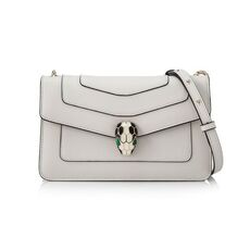 Bvlgari 'Serpenti Forever' Flap Cover Shoulder Bag White Agate