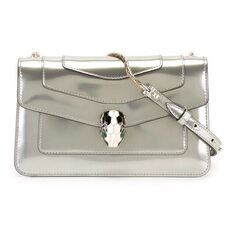 Bvlgari 'Serpenti Forever' Flap Cover Shoulder Bag Mirage Shiny Silver