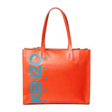 Kenzo Logo Tote Bag In Leather Medium Red