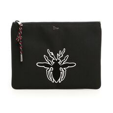 Dior Homme Black Nylon Flat Pouch Bag With Bee Patch