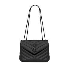 "Saint Laurent Loulou Small Shoulder Bag In Matelassé ""Y"" Leather Black"