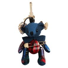 Burberry Thomas Bear Charm With Kilt Pin Cadet Blue