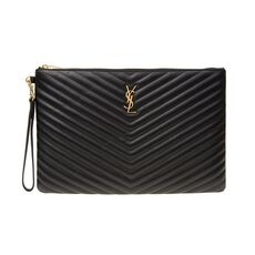 Saint Laurent Monogram Document Holder In Black Matelassé Leather Black