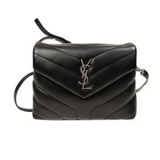 "Saint Laurent Loulou Toy In ""Y"" Matelasse Leather Crossbody Bag Black"
