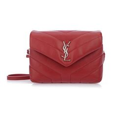 "Saint Laurent Toy Loulou Strap Bag In Red ""Y"" Matelasse Leather Red"