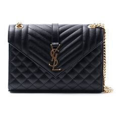 Saint Laurent Envelope Medium Bag In Grain De Poudre Embossed Leather Black