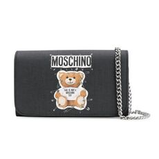 Moschino Safety Pin Teddy Chain Wallet Black