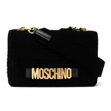 Moschino Quilted Logo Velvet Shoulder Bag Black