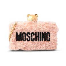 Moschino Textured Teddy Clutch Bag Pink